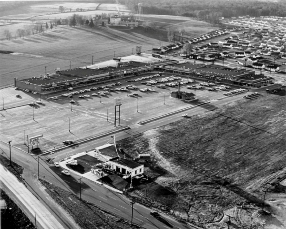 This aerial photo shows the sanitarium in relation to the Laurel Shopping Center. Source: The Berman Collection.