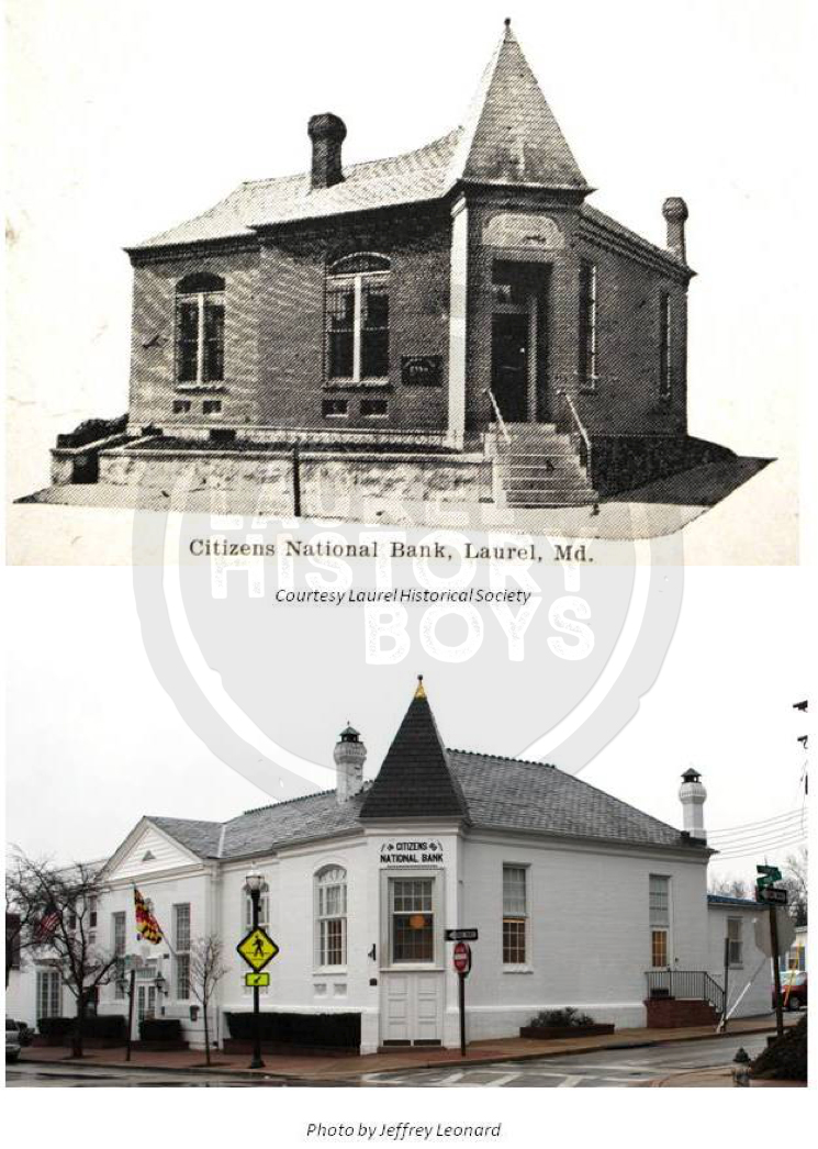 In 1911, the Citizen's National Bank of Laurel was a tiny brick building on the corner of Main and Fourth Streets. The original structure has been expanded many times. The bank was built in 1890 for approximately $7,000, half of which was the cost of the vault. Source: Laurel Historical Society.