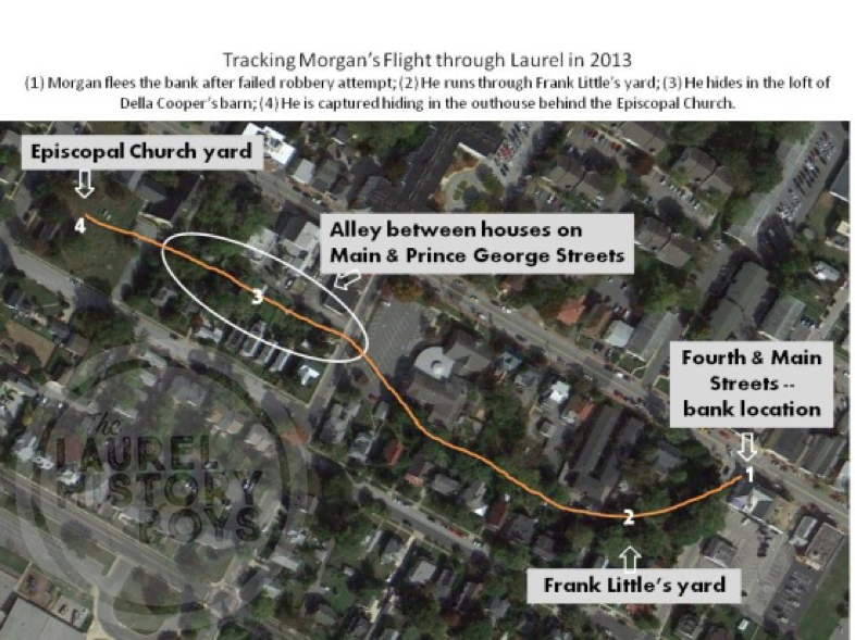 With information provided by residents, we were able to track the Kid's flight from justice using Google Earth. In 1911, however, more than half of these houses were not built yet. Illustration by Kevin Leonard.