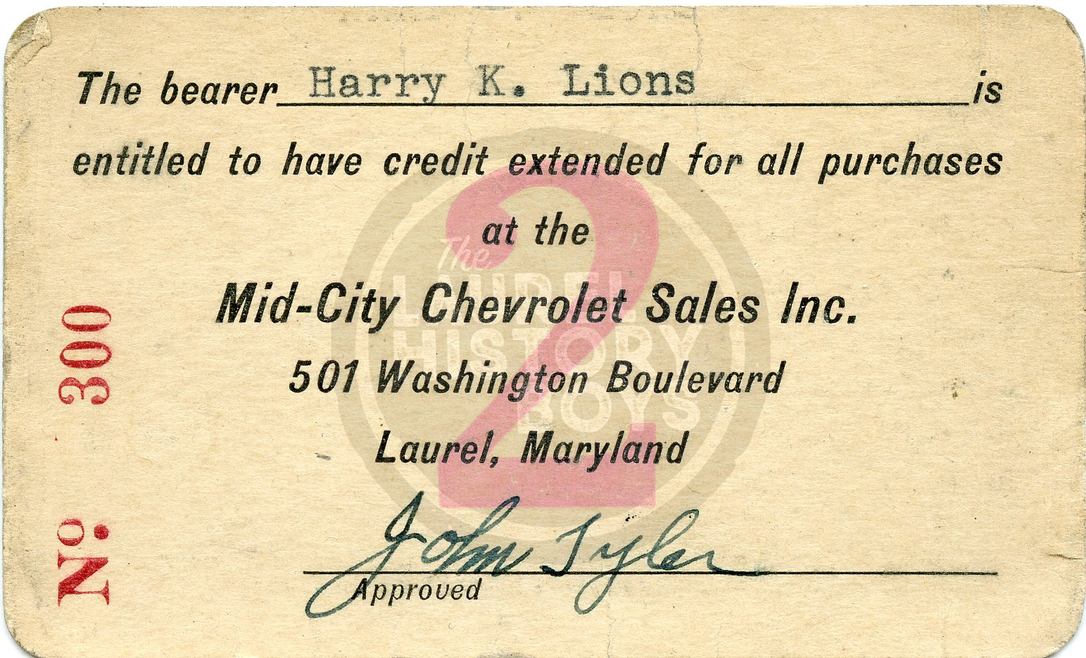 An early card noting a line of credit.
