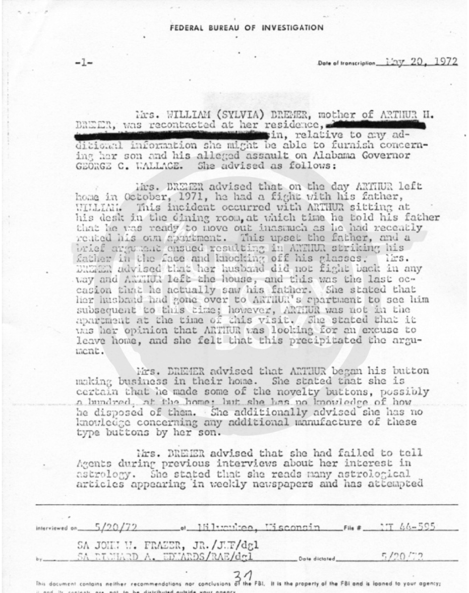Page 2 of the interview report by detectives with Arthur Bremer's mother. Source: Prince George's County Police.The 2nd interview report by detectives with Arthur Bremer's mother. Source: Prince George's County Police.