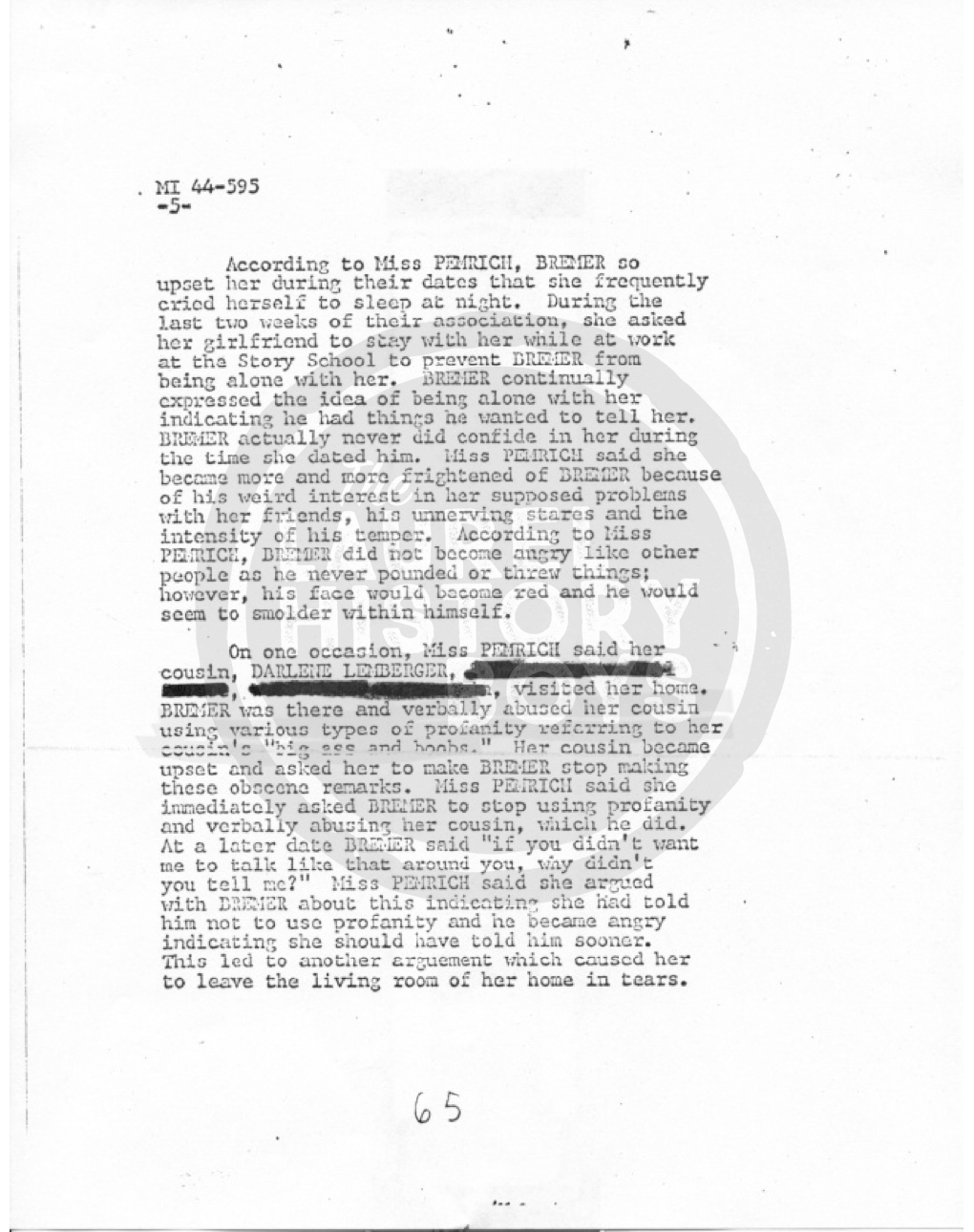 Page 5 of the interview report by detectives with a 16-year-old girl who dated Arthur Bremer. This was the most informative report as to Bremer's mental condition in the whole file. Source: Prince George's County Police.