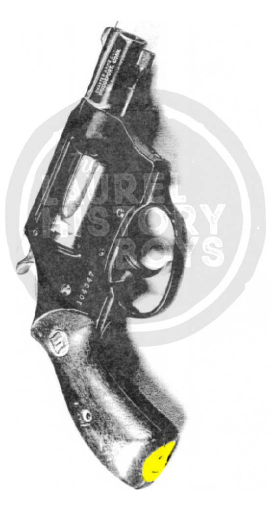 It's hard to see, but Bremer's gun had a Happy Face sticker affixed to the butt of the handle. Source: Prince George's County Police.