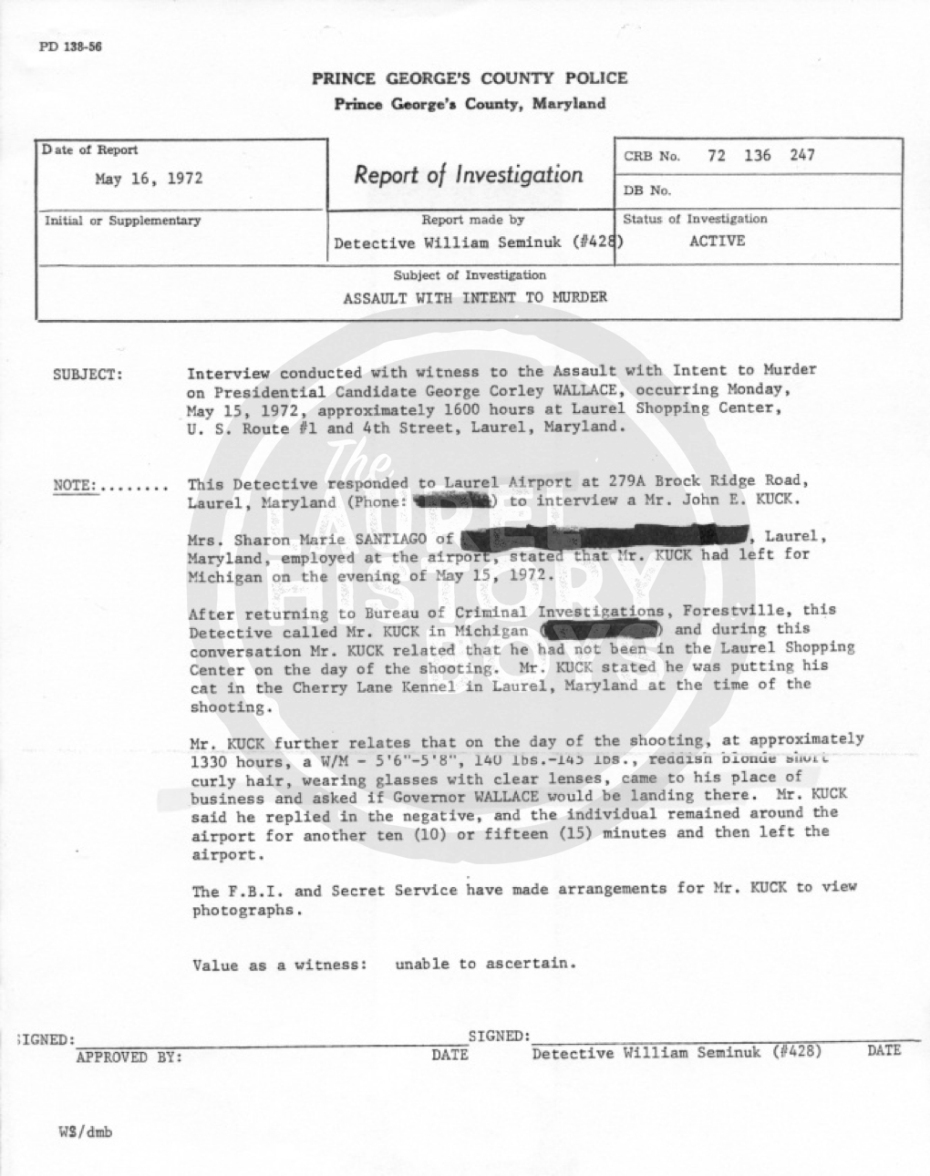 Apparently Bremer scouted Suburban Airport on Brock Bridge Road thinking that Wallace would arrive there by airplane. Source: Prince George's County Police.
